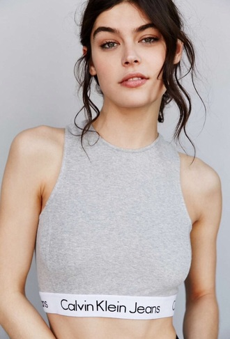 top calvin klein grey top crop tops grey crop top