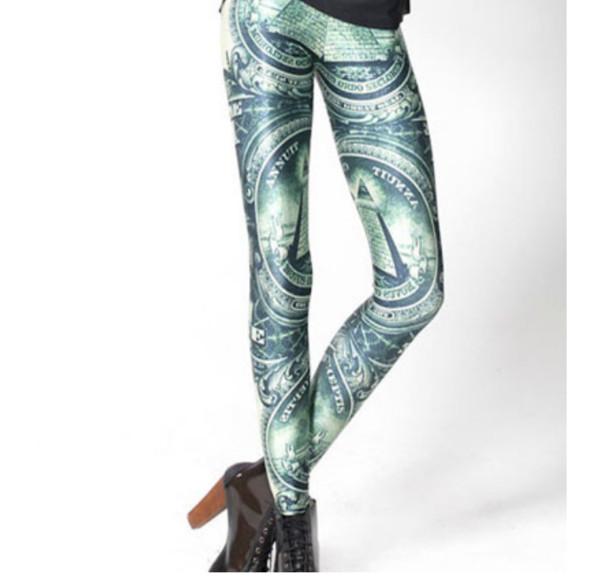 pants green money leggings