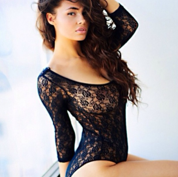 23bb156612 body black bodysuit black bodysuit lace bodysuit black lace cute underwear  floral lace long sleeves