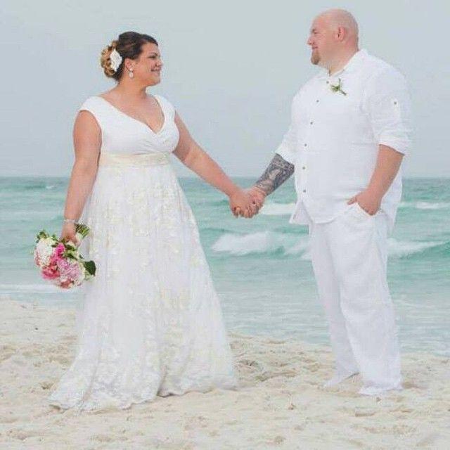 Eleagnt Lace Wedding Dresses Plus Size White Ivory Bridal Gowns V ...