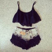 tank top,crop tops,lace,dip dyed,shorts,clothes,ebonylace.storenvy,ebonylace247,ebonylace-streetfashion,jumpsuit,spaghetti strap top,swimwear,black,shirt,hat,ombre,lace top,cute,cut off shorts,summer outfits,high waisted denim shorts,ombre shorts,white,follow me babies,tumblr outfit,tumblr shorts,cute shorts,mini,shorts denim,top,black lace,singlet,flowy crop top,dyed shorts,High waisted shorts,bag