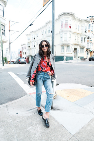 the fancy pants report blogger blouse jacket jeans bag loafers varsity jacket printed shirt fall outfits