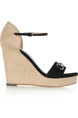 sandals wedge sandals suede black shoes