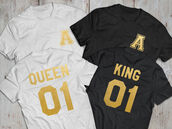 t-shirt,couples shirts,matching couples,matching shirts for couples,couple,black and white,queen,king,number,jersey