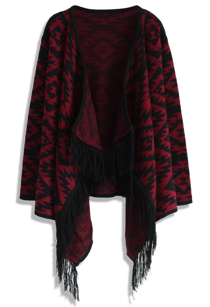 Aztec Fringed Knitted Cardigan in Wine - Retro, Indie and Unique Fashion