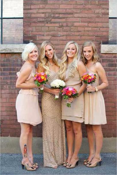 Gold Bridesmaids Dresses Bridesmaid Nude Nude Dress Wheretoget