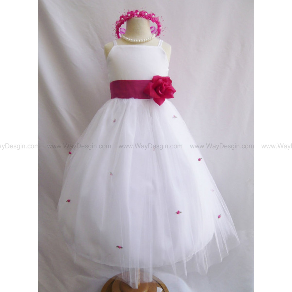 Flower Girl Dress - WHITE Tulle Dress with FUCHSIA Sash and Rosebuds - Communion, Easter, Jr. Bridesmaid, Wedding - Baby to Teen