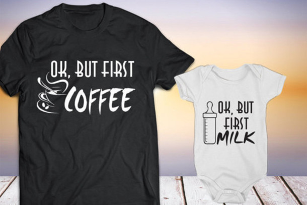 35f9be5a55a t-shirt, couples tees, quote tees, ok but firts coffee, ok but first ...