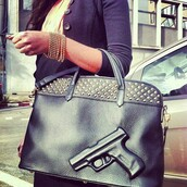 bag,black,gold,gun,girl,studs,leather,heart,bracelets,black bag gun imprint