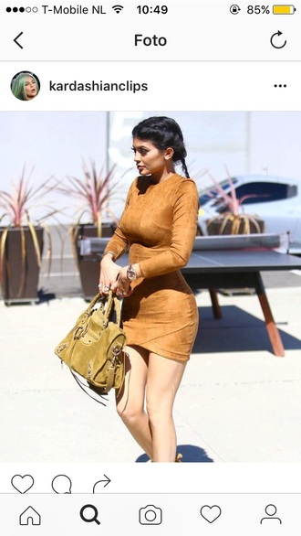 dress kylie jenner brown dress bodycon dress