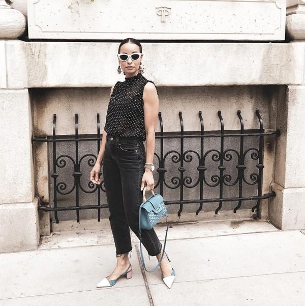 jeans denim black denim top sunglasses bag shoes