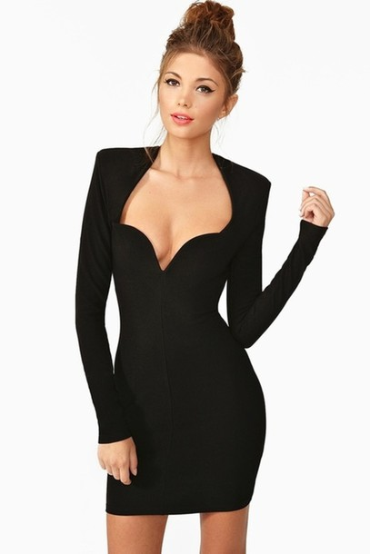 black dress cocktail dress sweetheart dress sweetheart neckline long sleeve dress bodycon dress mini dress sexy dress special occasion dress occasions every occasion clubwear thanksgiving christmas autumn/winter fall outfits elegant dress