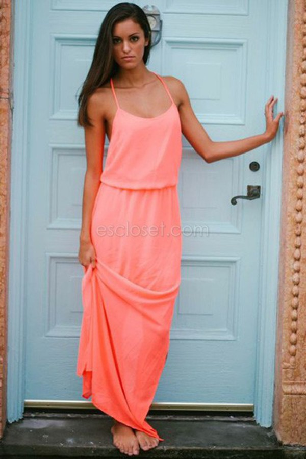maxi dress coral maxi criss cross coral dress summer dress