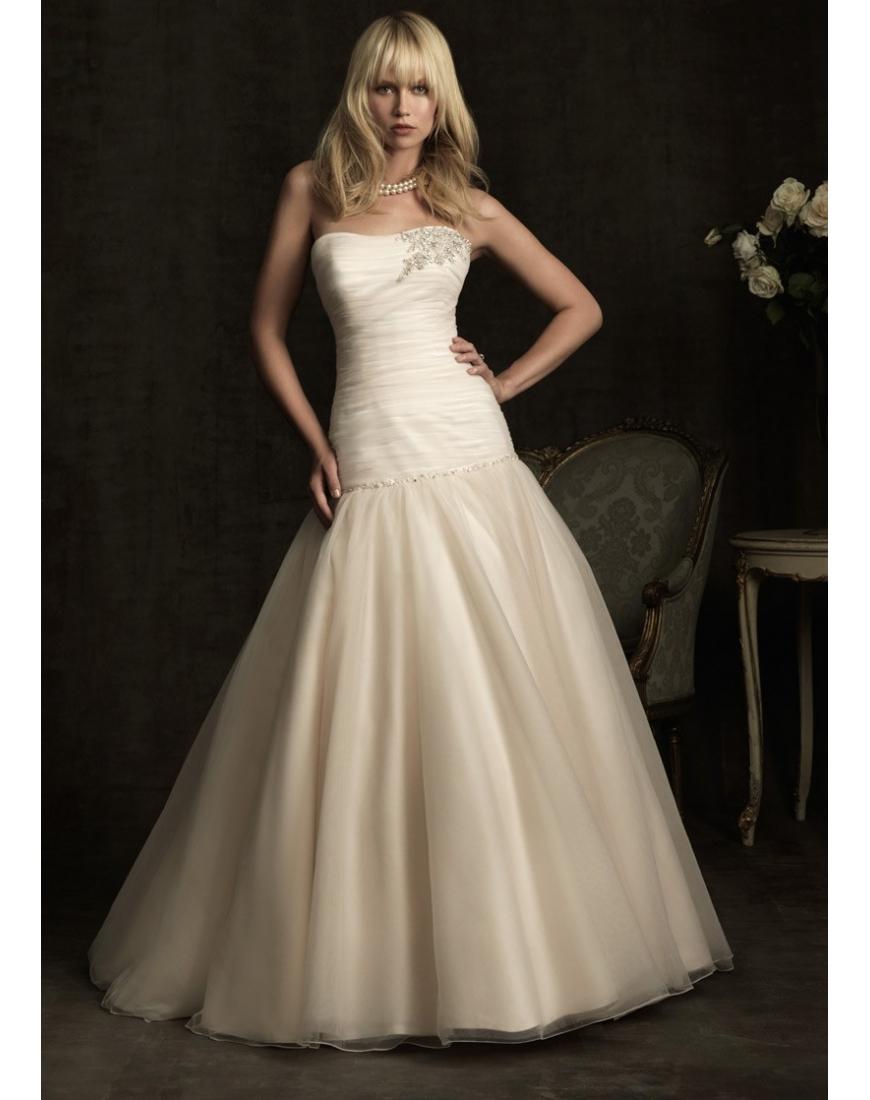 Herz-Ausschnitt gefaltetes beige Organza Brautkleid - online Kaufen