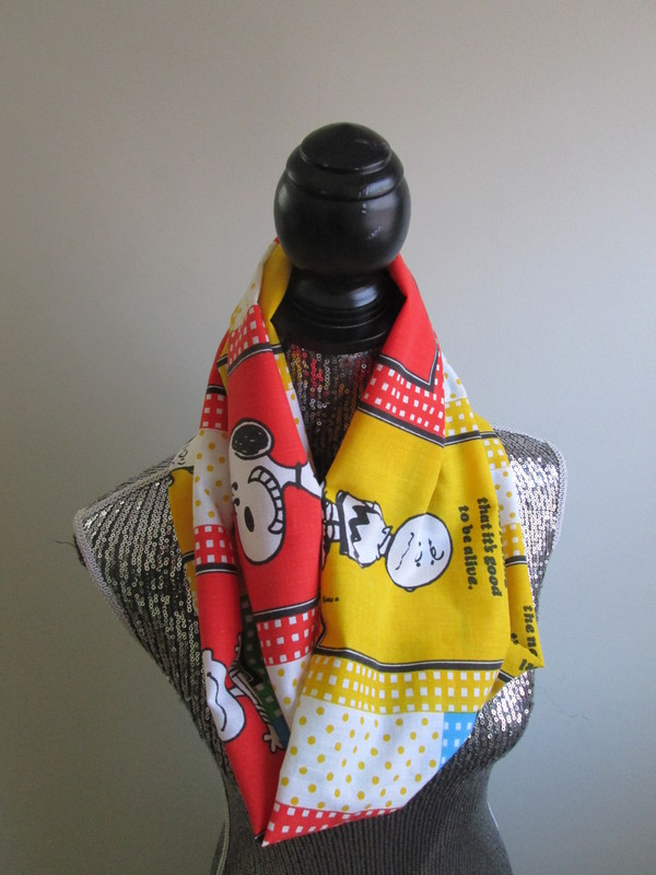 scarf snoopy charlie brown infinity vintage 90s style 70s style colorful cozy