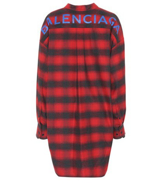 Balenciaga shirt plaid cotton red top
