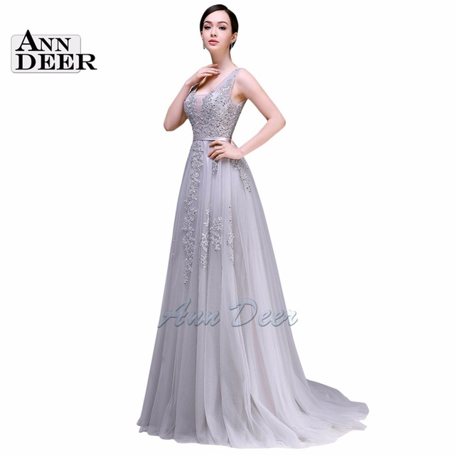 Aliexpress.com : Buy ANN DEER 2016 Hot Sale Sexy A Line V Neck Backless Tulle Long Evening Dress Gown Formal Party Dresses Robe De Soiree S301 from Reliable dress dora suppliers on Ann Deer Online store