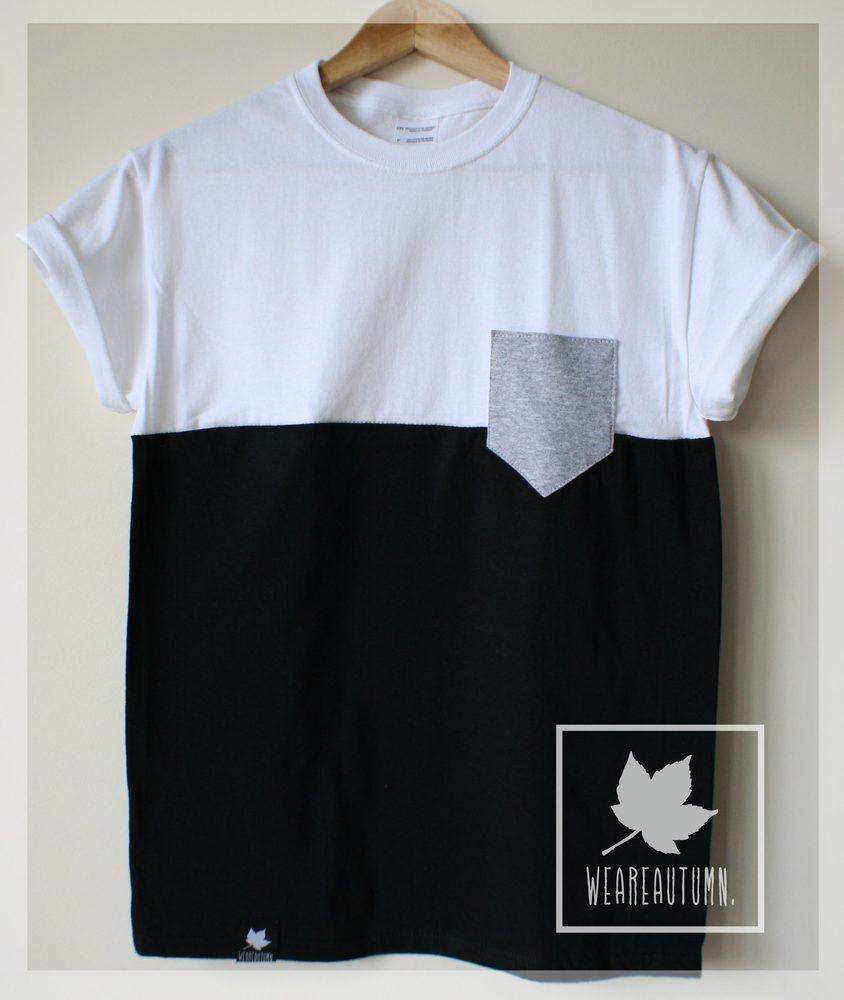 White Black Half Tone Grey Pocket Tee / weareautumn