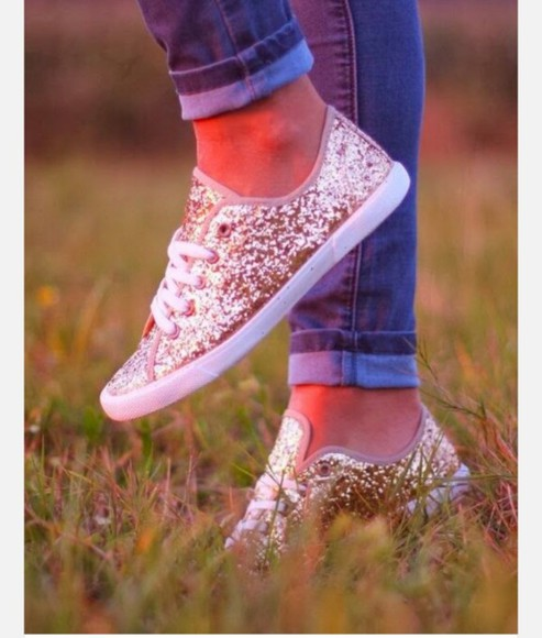 sparkling shoes gold sneakers