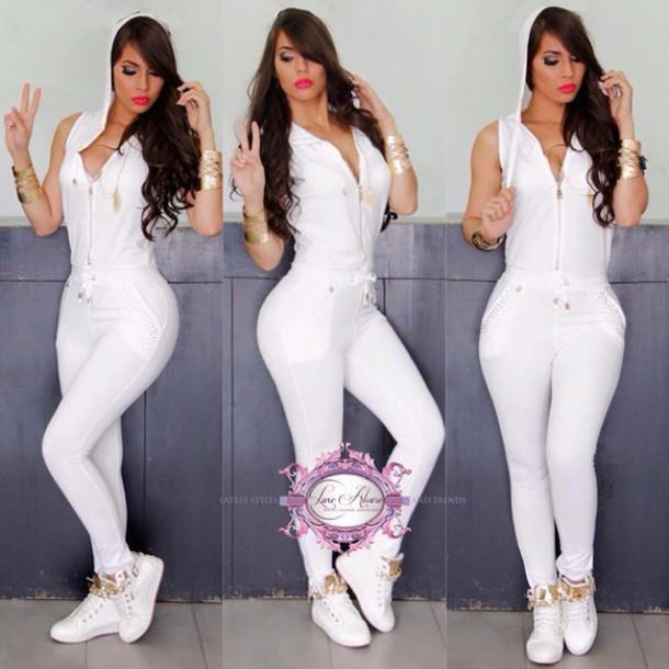 Jumpsuit Luxe Aloure White Black Khaki Gold Sleeveless