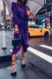 vivaluxury - fashion blog by annabelle fleur: nyfw mini moment,blogger,dress,bag,socks,shoes,purple dress,purple,fall outfits,dior bag,mini bag,socks and sandals