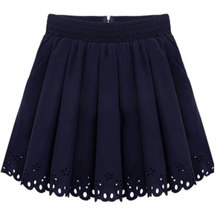 Hot New Ladies Pleated Skirt Women 2014 High Waisted Skater Skirts Short Pleated Fashion Navy White for Women Hole Hollow out-in Skirts from Apparel & Accessories on Aliexpress.com