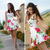 ROMWE | ROMWE Bandeau Rose Print Tank Skater Dress, The Latest Street Fashion