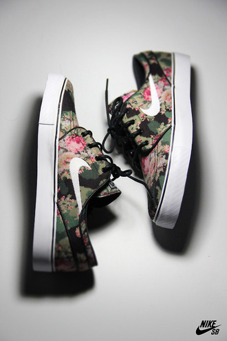 shoes shoe nike flowers camouflage digital print sneakers pants sweater