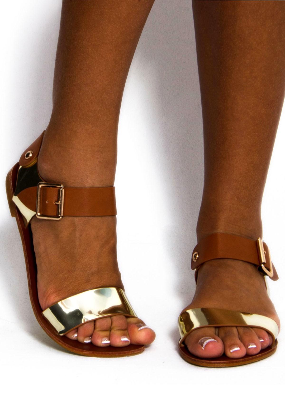 Preda Gold & Tan Designer Inspired Sandals | Pink Boutique
