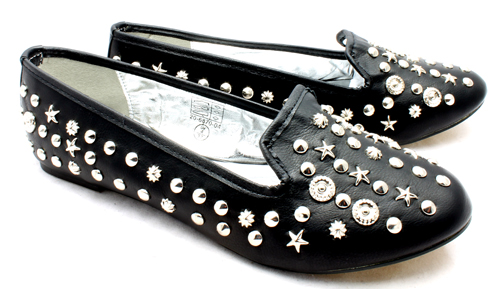 Ladies black faux leather silver studded detail flat slip on loafer style shoes