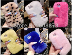 "Online shop winter warm soft rabbit fur diamond case for iphone4s 5s 5c 6 4.7"" 5.5"" samsung3,4,5 note2 ,3,4 4"