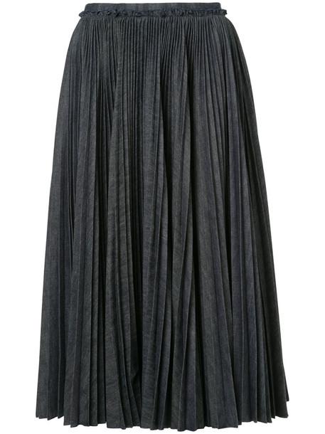 Rochas skirt pleated skirt pleated women cotton blue