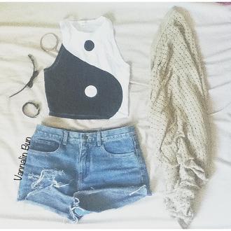 shirt tank crop tops yin yang