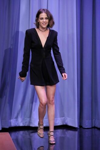 dress black dress plunge v neck kristen stewart sandals necklace shoes jewels short hair