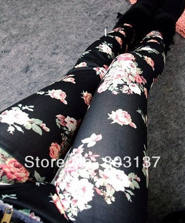 New 2014 Womens The Korean Fashion Leggins Denim Leggings BLack Roses Wholesale Slim Fitness Casual Pants Free Shipping S103 56-in Leggings from Apparel & Accessories on Aliexpress.com