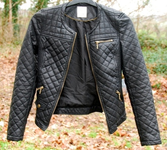 jacket leather black gold zip zara white