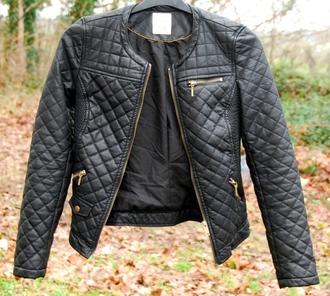 jacket leather gold zip zara white