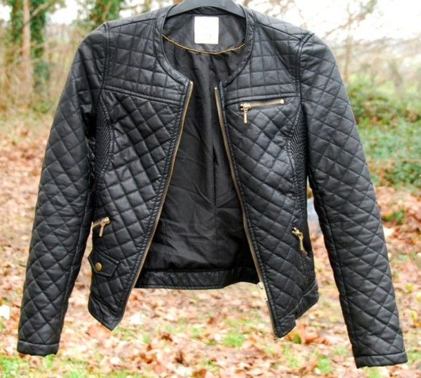 Jacket: leather, black, gold zip, zara, white - Wheretoget