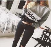 sweater,adidas,grey,black,white,hoodie,cotton,warm,girl,girly,tumblr,tumblr outfit