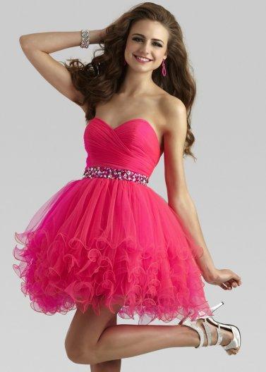 Beaded waist hot pink strapless layered ruffled homecoming dress [clarisse 2303 hot pink]
