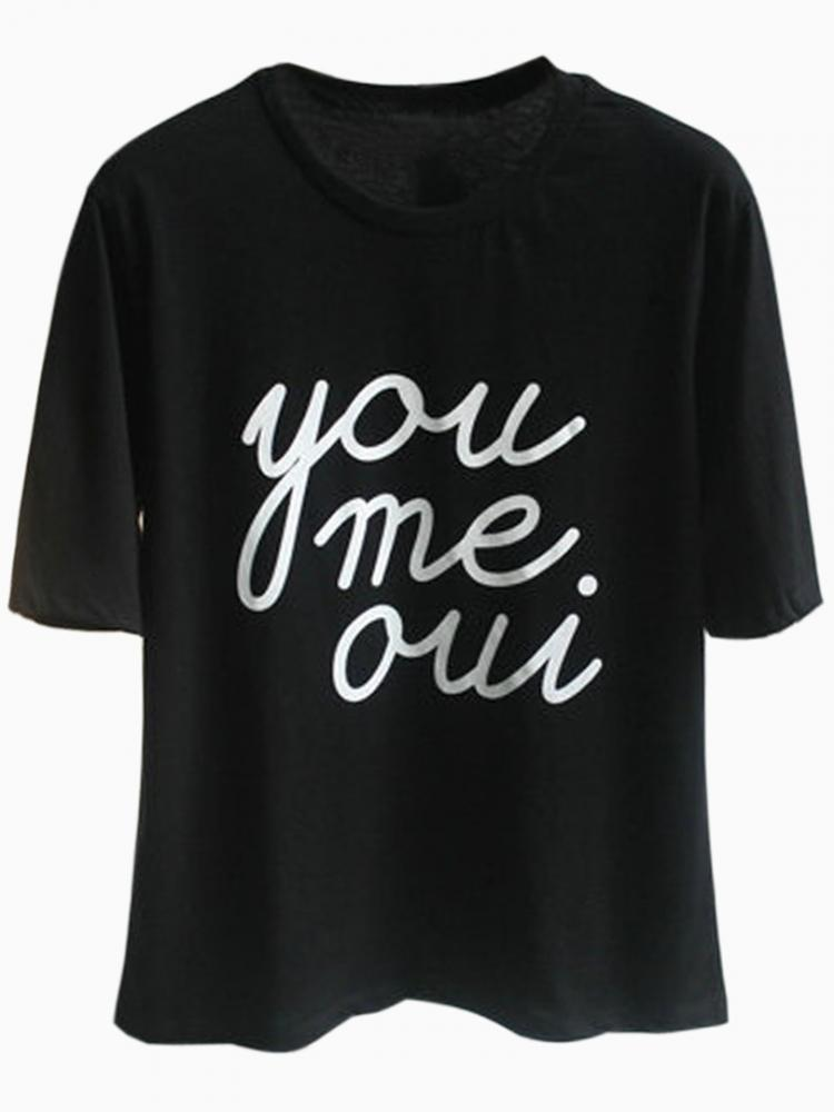Black T-shirt With English Letters Print   Choies