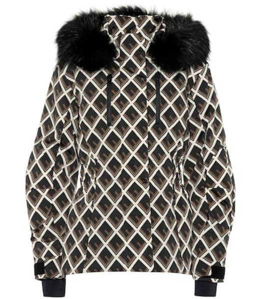 Fendi Printed fur-trimmed ski jacket in black