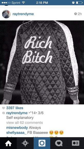 cute sweater white hot black rich bitch quilted sweatshirt oversized sweater winter sweaters