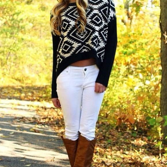 high-low white black sweater winter sweater oversized sweater