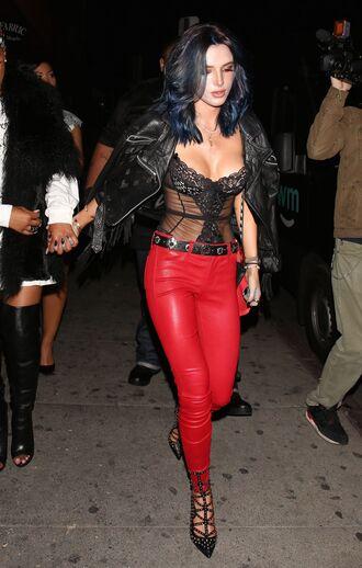 pants red red pants bella thorne pumps bodysuit lace bralette lace lingerie jacket bustier top