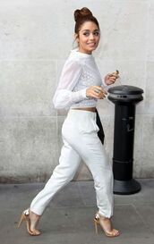shoes,blouse,gold,white,silver,pants,jeans,vanessa hudgens,sandals,high heels,glitter,white crop blouse,white blouse,off-white,white pants,baggy pants,loose,high waisted pants,beautiful,shirt,see through,venessa hudges