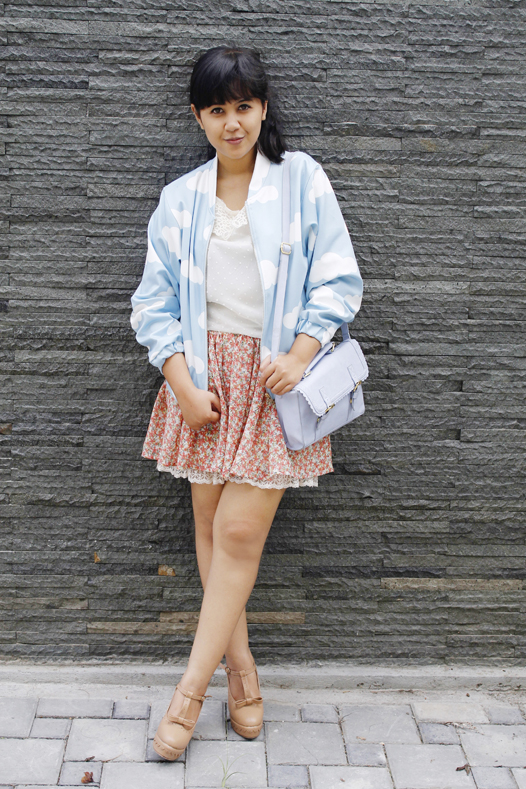 Cute Bomber Jacket With Cloud Print | Choies