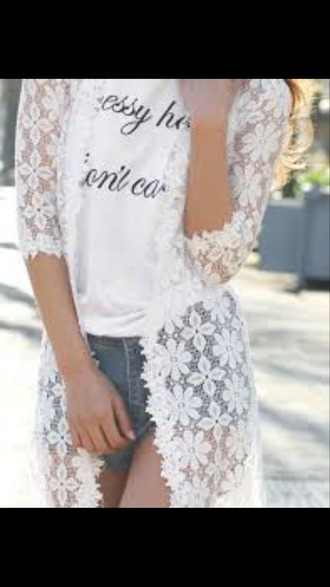 cardigan white lace flowers