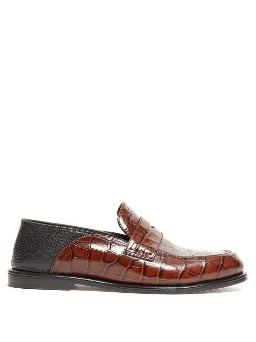Loewe - Collapsible Back Crocodile Effect Leather Loafers - Womens - Black Brown