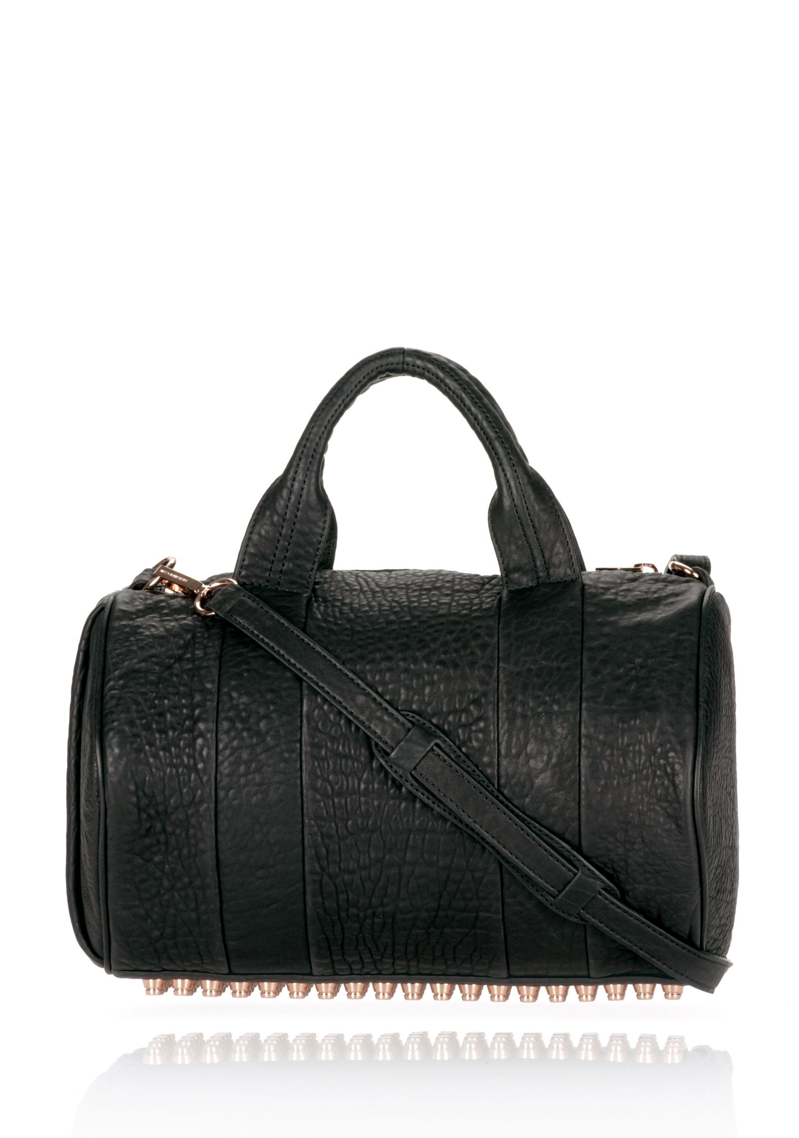 ROCCO IN BLACK PEBBLE LAMB WITH ROSEGOLD - Shoulder Bags Women - Alexander Wang Online Store